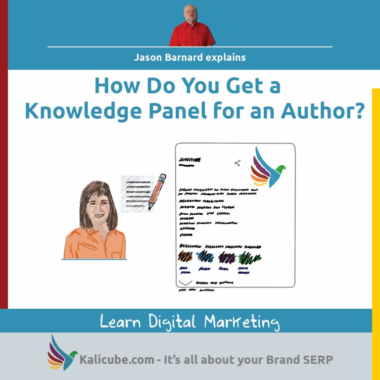 3 step process for getting a knowledge panel for an author.