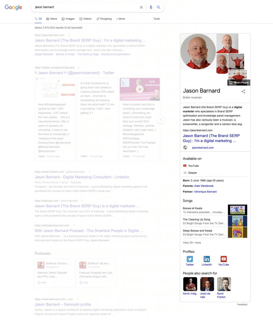 Knowledge Panel on Google - Jason Barnard
